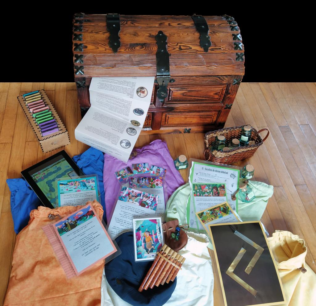 Photo du coffre et contenu de l'Escape Box