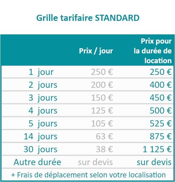 Exemple : location de la box pour 5 jours coûte 750€ pour une entreprise, 525€ pour une structure publique et 375€ pour une association